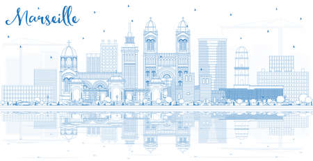 Outline Marseille France City Skyline with Blue Buildings and Reflections. Vector Illustration. Business Travel and Tourism Concept with Historic Architecture. Marseille Cityscape with Landmarks. Vector Illustration