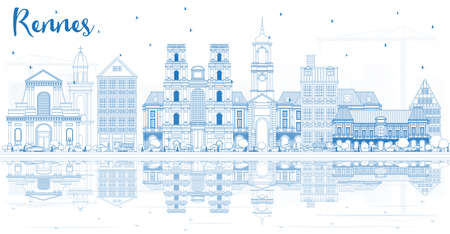 Outline Rennes France City Skyline with Blue Buildings and Reflections. Vector Illustration. Business Travel and Tourism Concept with Historic Architecture. Rennes Cityscape with Landmarks.