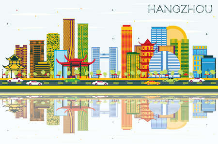 Hangzhou China Skyline with Color Buildings, Blue Sky and Reflections. Vector Illustration. Business Travel and Tourism Concept with Modern Architecture. Hangzhou Cityscape with Landmarks.