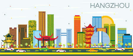 Hangzhou China Skyline with Color Buildings and Blue Sky. Vector Illustration. Business Travel and Tourism Concept with Modern Architecture. Hangzhou Cityscape with Landmarks.