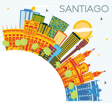 Santiago Chile Skyline with Color Buildings, Blue Sky and Copy Space. Vector Illustration. Business Travel and Tourism Concept with Modern Buildings. Santiago Cityscape with Landmarks.