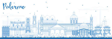 Outline Palermo Italy City Skyline with Blue Buildings. Vector Illustration. Business Travel and Tourism Concept with Historic Architecture. Palermo Sicily Cityscape with Landmarks.