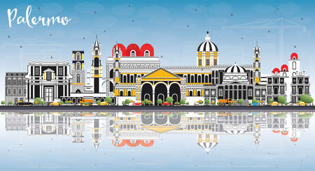 Palermo Italy City Skyline with Color Buildings, Blue Sky and Reflections. Vector Illustration. Business Travel and Tourism Concept with Historic Architecture. Palermo Sicily Cityscape with Landmarks. Illustration