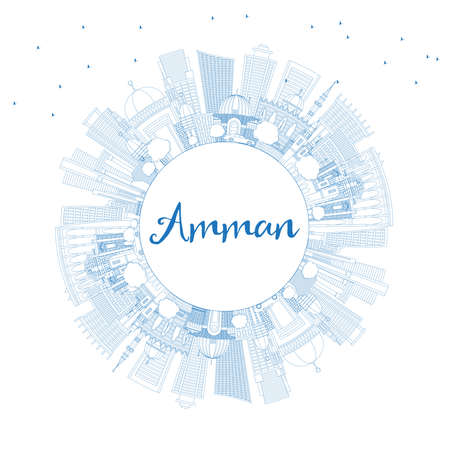 Outline Amman Jordan Skyline with Blue Buildings and Copy Space. Vector Illustration. Business Travel and Tourism Concept with Modern Architecture. Amman Cityscape with Landmarks. Illustration