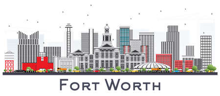 Fort Worth USA City Skyline with Gray Buildings Isolated on White. Vector Illustration. Business Travel and Tourism Concept with Modern Architecture. Fort Worth Cityscape with Landmarks. Ilustração