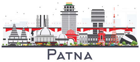 Patna India City Skyline with Gray Buildings Isolated on White. Vector Illustration. Business Travel and Tourism Concept with Modern Architecture. Patna Cityscape with Landmarks.