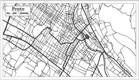 Prato Italy City Map in Retro Style. Outline Map. Vector Illustration.