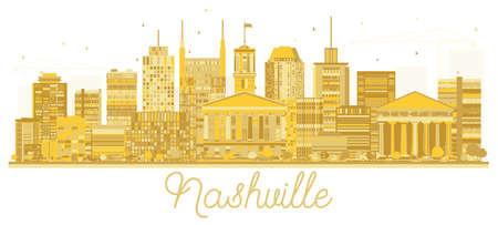 Nashville Tennessee City Skyline Golden Silhouette. Vector Illustration. Simple Flat Concept for Tourism Presentation, Banner, Placard or Web Site. Nashville Cityscape with Landmarks. Stock Vector - 103170386