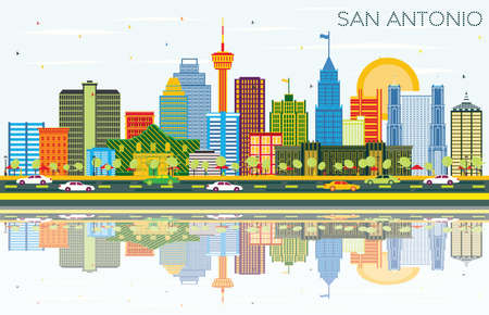 San Antonio Texas Skyline with Color Buildings, Blue Sky and Reflections. Vector Illustration. Business Travel and Tourism Concept with Modern Architecture. San Antonio Cityscape with Landmarks.