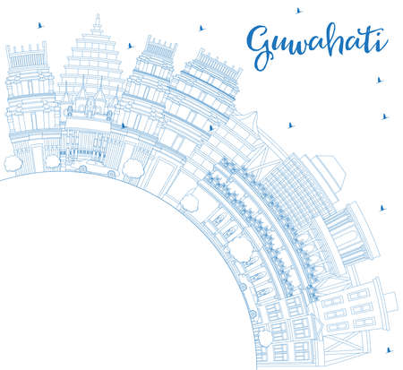 Outline Guwahati India City Skyline with Blue Buildings and Copy Space. Vector Illustration. Business Travel and Tourism Concept with Historic Architecture. Guwahati Cityscape with Landmarks.
