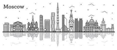 Outline Moscow Russia City Skyline with Historic Buildings and Reflections Isolated on White. Vector Illustration. Moscow Cityscape with Landmarks. Stock Illustratie