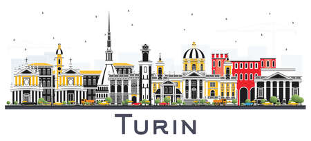 Turin Italy City Skyline with Color Buildings Isolated on White. Vector Illustration. Business Travel and Tourism Concept with Modern Architecture. Turin Cityscape with Landmarks.