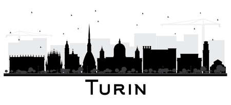Turin Italy City Skyline Silhouette with Black Buildings Isolated on White. Vector Illustration. Business Travel and Tourism Concept with Modern Architecture. Turin Cityscape with Landmarks.