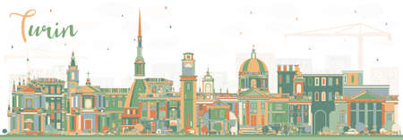 Turin Italy City Skyline with Color Buildings. Vector Illustration. Business Travel and Tourism Concept with Modern Architecture. Turin Cityscape with Landmarks.