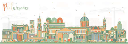 Palermo Italy City Skyline with Color Buildings. Vector Illustration. Business Travel and Tourism Concept with Historic Architecture. Palermo Sicily Cityscape with Landmarks. Illustration
