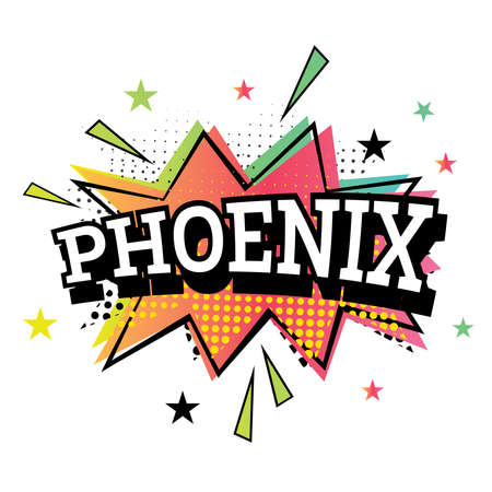 Phoenix Comic Text in Pop Art Style. Vector Illustration.