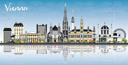 Vienna Austria City Skyline with Color Buildings, Blue Sky and Reflections. Vector Illustration. Business Travel and Tourism Concept with Historic Architecture. Vienna Cityscape with Landmarks.