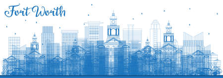 Outline Fort Worth Skyline with Blue Buildings. Vector Illustration. Business Travel and Tourism Concept with Modern Architecture. Fort Worth Cityscape with Landmarks.
