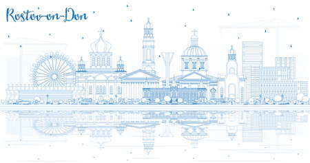 Outline Rostov-on-Don Russia City Skyline with Blue Buildings and Reflections. Vector Illustration. Business Travel and Tourism Concept with Modern Architecture. Rostov-on-Don Cityscape with Landmarks. Illustration