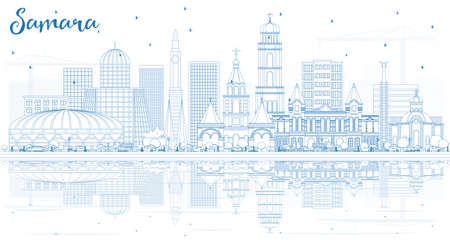 Outline Samara Russia City Skyline with Blue Buildings and Reflections. Vector Illustration. Business Travel and Tourism Concept with Modern Architecture. Samara Cityscape with Landmarks. Illustration