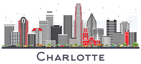 Charlotte NC City Skyline with Gray Buildings Isolated on White. Vector Illustration. Business Travel and Tourism Concept with Modern Architecture. Charlotte Cityscape with Landmarks.