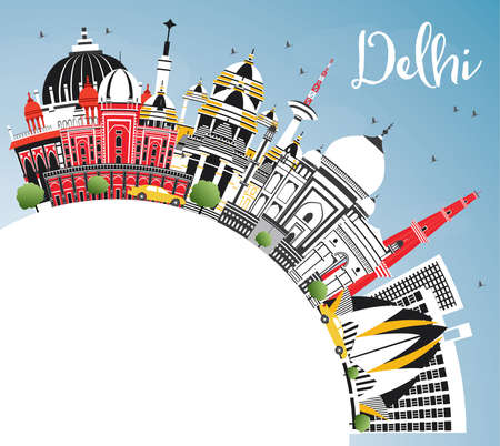 Delhi India City Skyline with Color Buildings, Blue Sky and Copy Space. Vector Illustration. Business Travel and Tourism Concept with Historic Architecture. Delhi Cityscape with Landmarks.