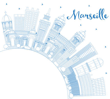 Outline Marseille France City Skyline with Blue Buildings and Copy Space. Vector Illustration. Business Travel and Tourism Concept with Historic Architecture. Marseille Cityscape with Landmarks.