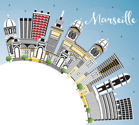 Marseille France City Skyline with Gray Buildings, Blue Sky and Copy Space. Vector Illustration. Business Travel and Tourism Concept with Historic Architecture. Marseille Cityscape with Landmarks. Vector Illustration