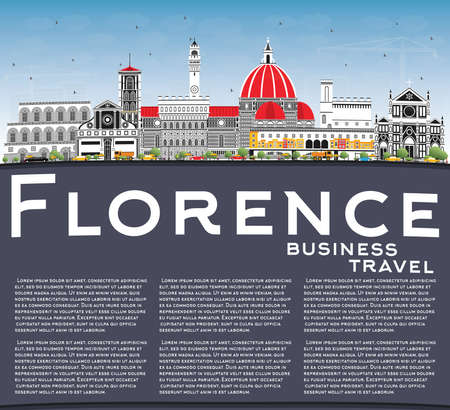 Florence Italy City Skyline with Color Buildings, Blue Sky and Copy Space. Vector Illustration. Business Travel and Tourism Concept with Modern Architecture. Florence Cityscape with Landmarks. 矢量图像