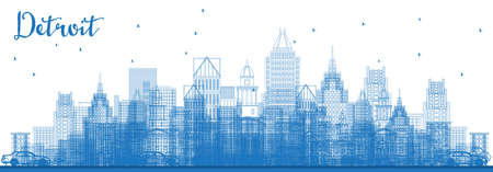 Outline Detroit Michigan Skyline with Blue Buildings. Vector Illustration. Business Travel and Tourism Concept with Modern Architecture. Detroit Cityscape with Landmarks.