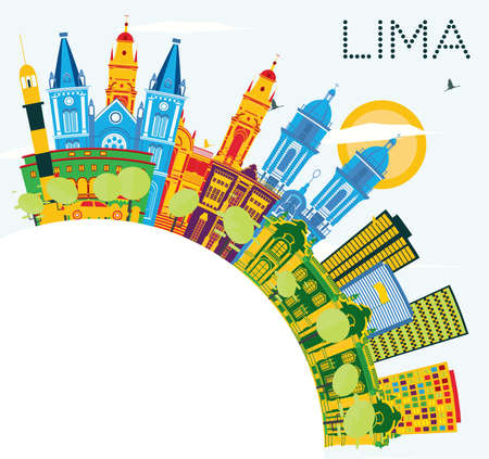 Lima Peru City Skyline with Color Buildings, Blue Sky and Copy Space. Vector Illustration. Business Travel and Tourism Concept with Lima City. Lima Cityscape with Landmarks.  イラスト・ベクター素材