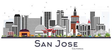 San Jose California Skyline with Gray Buildings Isolated on White. Vector Illustration. Business Travel and Tourism Concept with Modern Architecture. San Jose Cityscape with Landmarks.