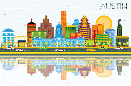 Austin Texas Skyline with Color Buildings, Blue Sky and Reflections. Vector Illustration. Business Travel and Tourism Concept with Modern Architecture. Austin Cityscape with Landmarks.