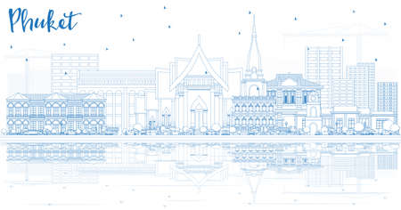 Outline Phuket Thailand City Skyline with Blue Buildings and Reflections. Vector Illustration. Business Travel and Tourism Concept with Modern Architecture. Phuket Cityscape with Landmarks. Иллюстрация