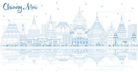 Outline Chiang Mai Thailand City Skyline with Blue Buildings and Reflections. Vector Illustration. Business Travel and Tourism Concept with Modern Architecture. Chiang Mai Cityscape with Landmarks.