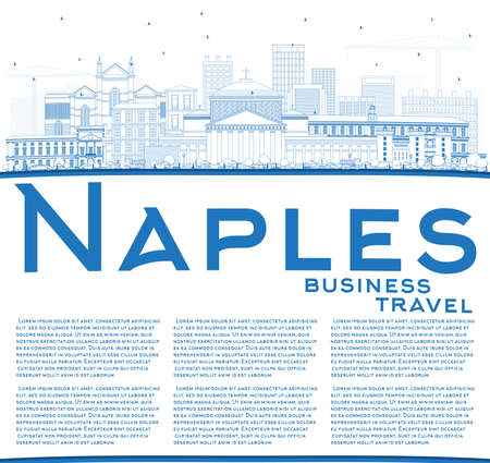 Outline Naples Italy City Skyline with Blue Buildings and Copy Space. Vector Illustration. Business Travel and Tourism Concept with Modern Architecture. Naples Cityscape with Landmarks.