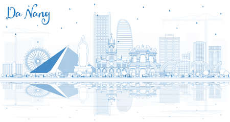 Outline Da Nang Vietnam City Skyline with Blue Buildings and Reflections. Vector Illustration. Business Travel and Tourism Concept with Modern Architecture. Da Nang Cityscape with Landmarks.