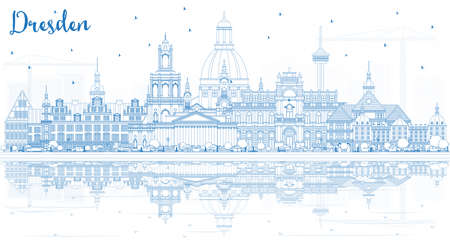 Outline Dresden Germany City Skyline with Blue Buildings and Reflections. Vector Illustration. Business Travel and Tourism Concept with Historic Architecture. Dresden Cityscape with Landmarks.