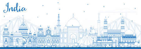 Outline India City Skyline with Blue Buildings. Delhi. Hyderabad. Kolkata. Vector Illustration. Travel and Tourism Concept with Historic Architecture. India Cityscape with Landmarks. Illustration