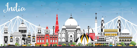India City Skyline with Color Buildings and Blue Sky. Delhi. Hyderabad. Kolkata. Vector Illustration. Travel and Tourism Concept with Historic Architecture. India Cityscape with Landmarks.