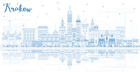 Outline Krakow Poland City Skyline with Blue Buildings and Reflections. Vector Illustration. Business Travel and Tourism Concept with Historic Architecture. Krakow Cityscape with Landmarks.