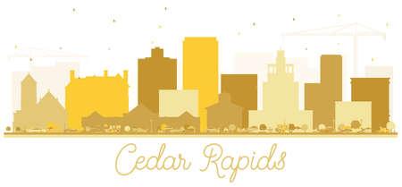 Cedar Rapids Iowa skyline Golden silhouette. Vector illustration. Business travel concept. Cityscape with landmarks.