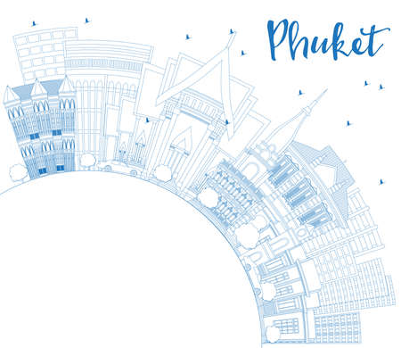 Outline Phuket Thailand City Skyline with Blue Buildings and Copy Space. Vector Illustration. Business Travel and Tourism Concept with Modern Architecture. Phuket Cityscape with Landmarks. Иллюстрация