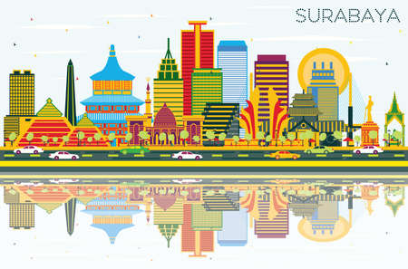 Surabaya Indonesia Skyline with Color Buildings, Blue Sky and Reflections. Vector Illustration. Business Travel and Tourism Concept with Modern Architecture. Surabaya Cityscape with Landmarks. Illustration
