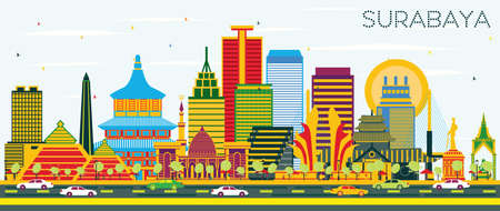 Surabaya Indonesia Skyline with Color Buildings and Blue Sky. Vector Illustration. Business Travel and Tourism Concept with Modern Architecture. Surabaya Cityscape with Landmarks.