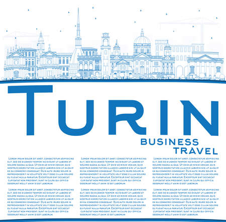 Outline Turin Italy City Skyline with Blue Buildings and Copy Space. Vector Illustration. Business Travel and Tourism Concept with Modern Architecture. Turin Cityscape with Landmarks. Illustration