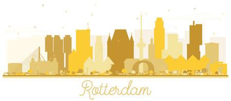 Rotterdam Netherlands skyline Golden silhouette. Vector illustration. Business travel concept. Rotterdam Cityscape with landmarks. Stock Illustratie