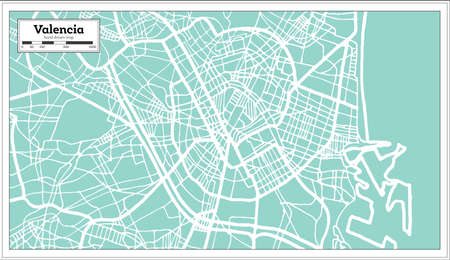 Valencia Spain City Map in Retro Style. Outline Map. Vector Illustration.