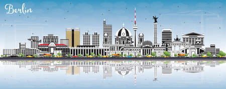 Berlin Germany Skyline with Gray Buildings, Blue Sky and Reflections. Vector Illustration. Business Travel and Tourism Concept with Historic Architecture. Berlin Cityscape with Landmarks.