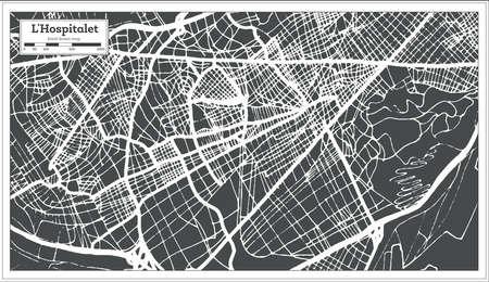 L'Hospitalet Spain City Map in Retro Style. Outline Map. Vector Illustration. Ilustração